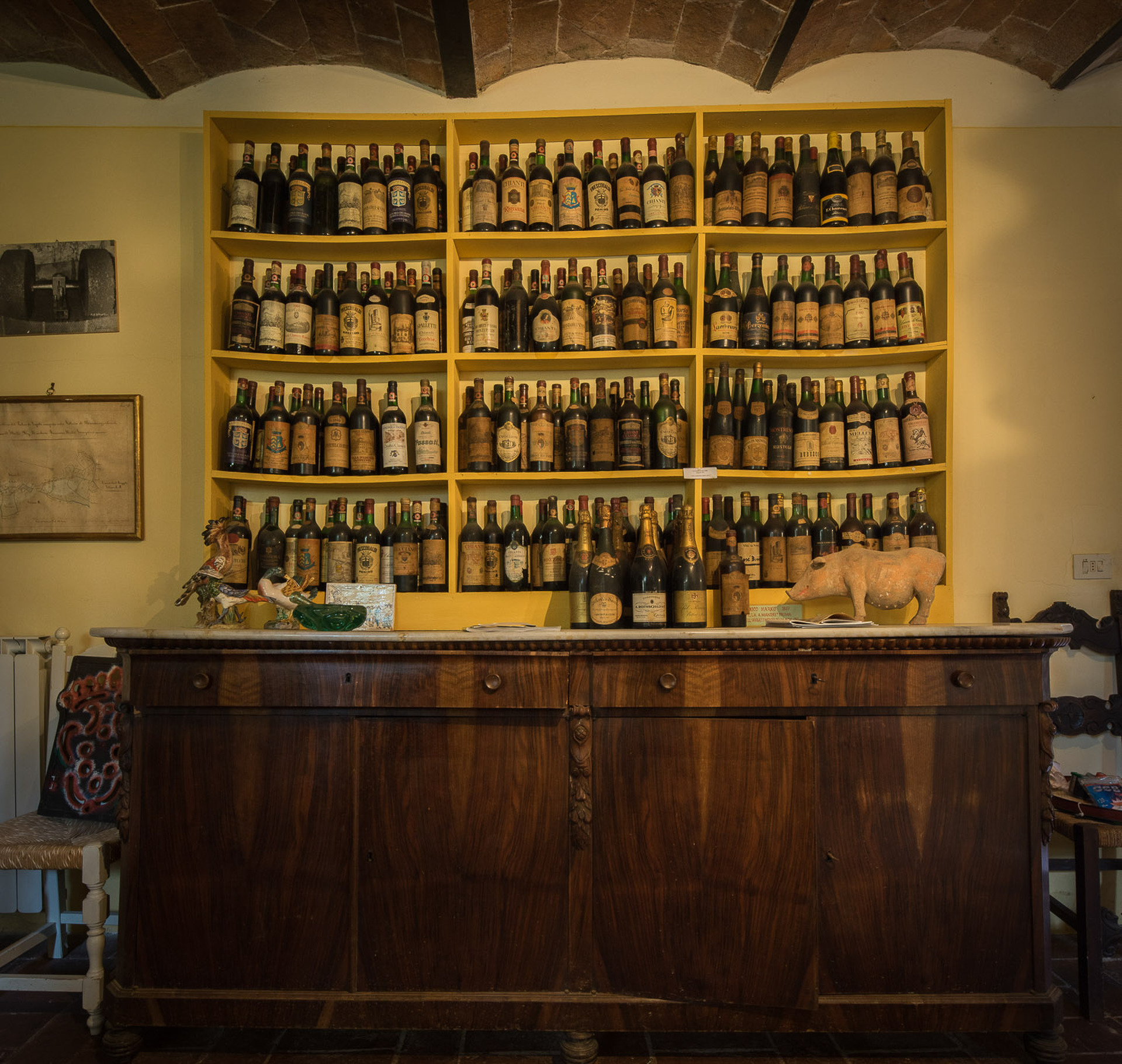 Collection of historical wine and Champagnes